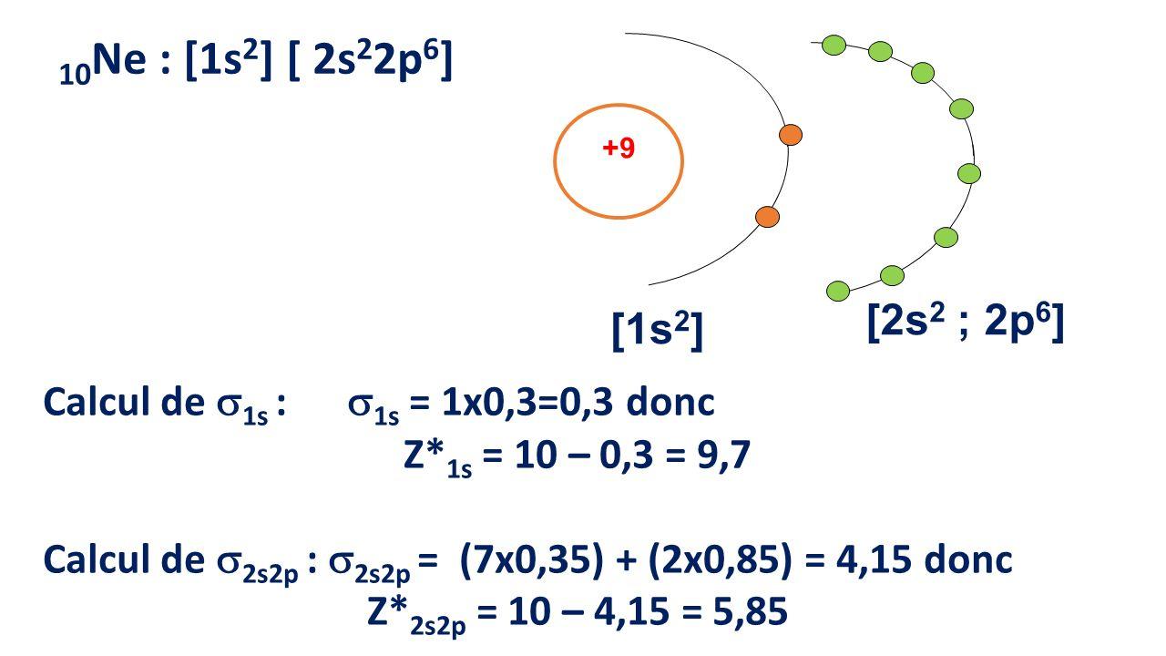 10Ne : [1s2] [ 2s22p6] +9. [1s2] [2s2 ; 2p6] Calcul de 1s : 1s = 1x0,3=0,3 donc. Z*1s = 10 – 0,3 = 9,7.